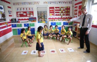 Teacher teaching English