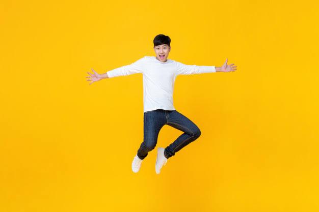 Asian Man Jumping   FAIR WORK